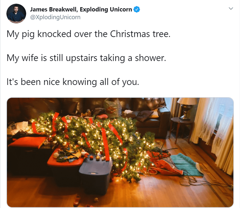 Tree - James Breakwell, Exploding Unicorn @XplodingUnicorn My pig knocked over the Christmas tree. My wife is still upstairs taking a shower. It's been nice knowing all of you.