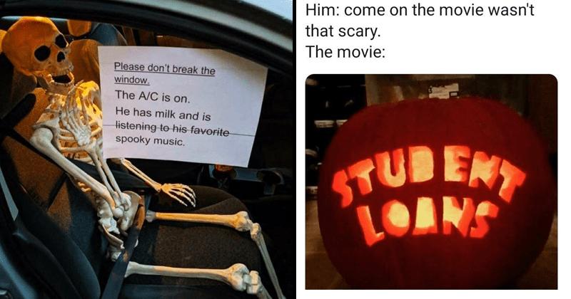 Funny memes, silly memes, dank memes, spooky memes, spooktober, skeletons