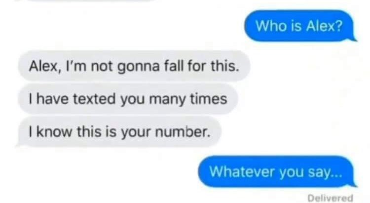 Text - Who is Alex? Alex, I'm not gonna fall for this. I have texted you many times I know this is your number. Whatever you say... Delivered