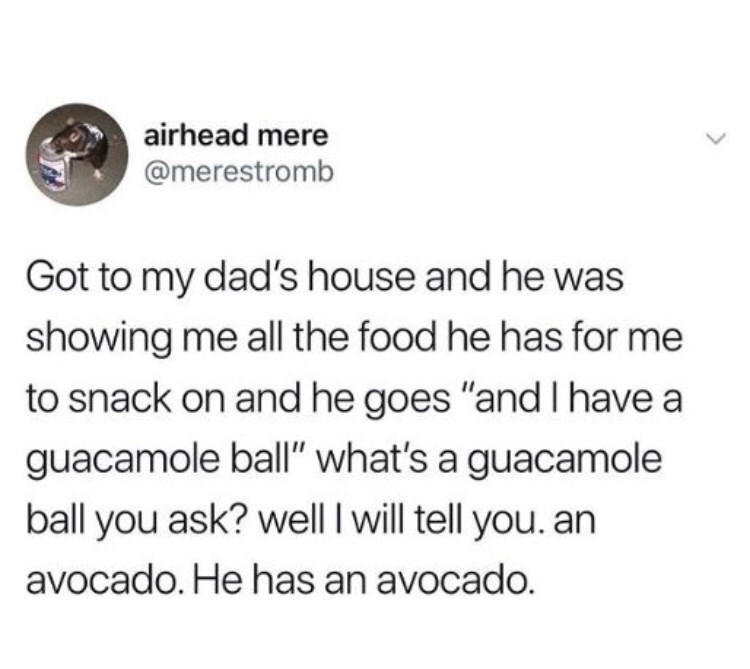 "Text - airhead mere @merestromb Got to my dad's house and he was showing me all the food he has for me to snack on and he goes ""and have a guacamole ball"" what's a guacamole ball you ask? well I will tell you. an avocado. He has an avocado."