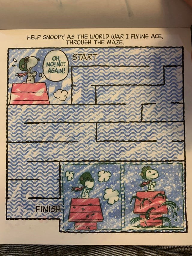 Text - HELP SNOOPY, AS THE WORLD WAR I FLYING ACE, THROUGH THE MAZE. START Оң NO!NOT AGAIN! C3 FINISH so