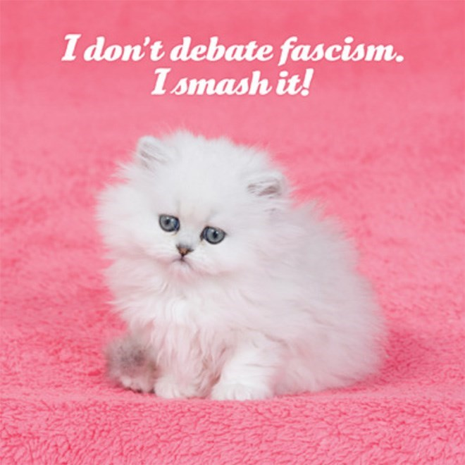 Cat - I don't debate fascism. Ismash it!