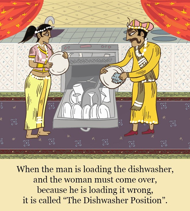 """Cartoon - 00 When the man is loading the dishwasher, and the woman must come over, because he is loading it wrong, it is called """"The Dishwasher Position""""."""