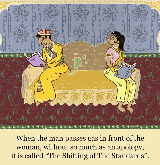 """Text - When the man passes gas in front of the woman, without so much as an apology, it is called """"The Shifting of The Standards""""."""