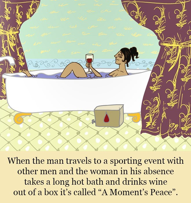 """Cartoon - deeamstim When the man travels to a sporting event with other men and the woman in his absence takes a long hot bath and drinks wine out of a box iť's called """"A Moment's Peace""""."""