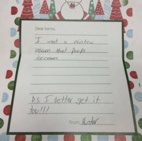 Text - Dear Santa. (ainbow Unicun that poeps icecruen Ds. I better get it From Hater