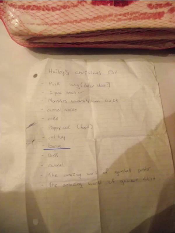 Text - Hailey's chrtotamas 1737 st Pink wig(der dee forch pod Morsturs unsity Du DA Cumel opple cake Poppy cok Cat tuy Cfeod> buan Dress Carmel qumball parster Shrt Khe he antméng warld of gonder