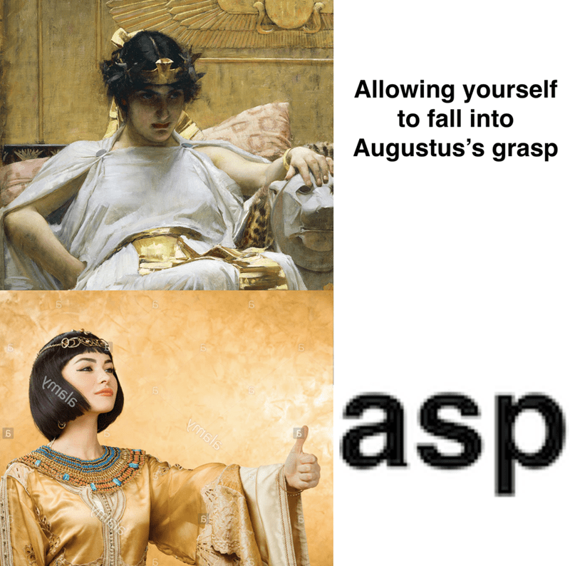 Text - Allowing yourself to fall into Augustus's grasp asp Ymsls Vmsls