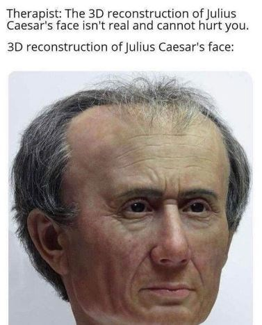 Face - Therapist: The 3D reconstruction of Julius Caesar's face isn't real and cannot hurt you. 3D reconstruction of Julius Caesar's face: