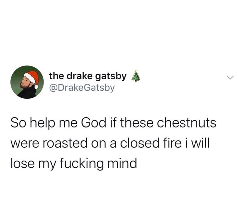 Text - the drake gatsby @DrakeGatsby So help me God if these chestnuts were roasted on a closed fire i will lose my fucking mind