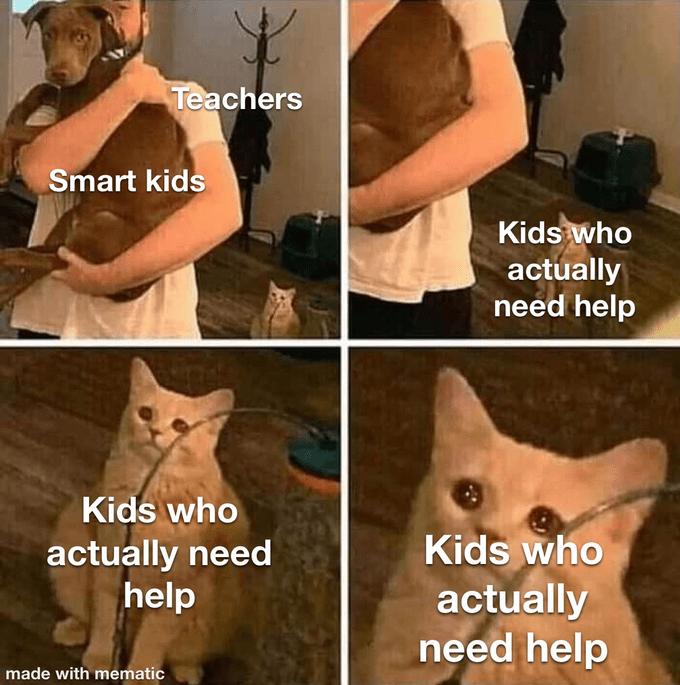 Facial expression - Teachers Smart kids Kids who actually need help Kids who Kids who actually need help actually need help made with mematic
