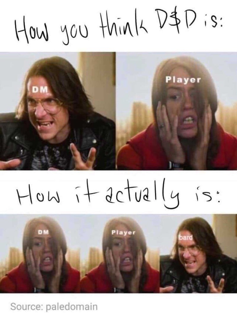 People - think D$ Dis: How you Player DM How it actually is: Player DM bard Source: paledomain