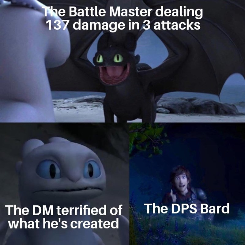 Animated cartoon - The Battle Master dealing 137 damage in 3 attacks The DPS Bard The DM terrified of what he's created