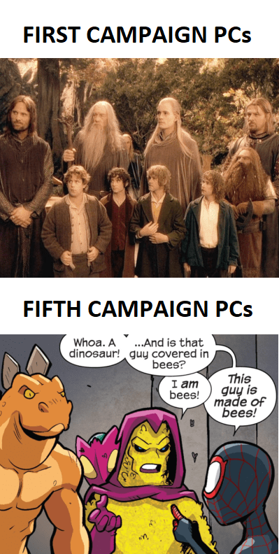 Cartoon - FIRST CAMPAIGN PCs FIFTH CAMPAIGN PCs .And is that dinosaur! guy covered in bees? Whoa. A This guy is made of bees! I am bees!