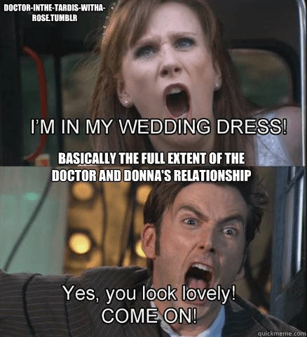 Facial expression - DOCTOR-INTHE-TARDIS-WITHA- ROSETUMBLR I'M IN MY WEDDING DRESS! BASICALLY THE FULL EXTENT OF THE DOCTOR AND DONNA'S RELATIONSHIP Yes, you look lovely! COME ON! quickmeme.com
