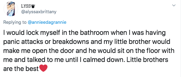 Text - LYSSW @alyssaxbrittany Replying to @annieedagrannie I would lock myself in the bathroom when I was having panic attacks or breakdowns and my little brother would make me open the door and he would sit on the floor with me and talked to me until I calmed down. Little brothers are the best