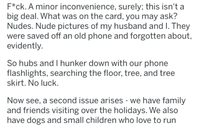 Text - F*ck. A minor inconvenience, surely; this isn't a big deal. What was on the card, you may ask? Nudes. Nude pictures of my husband and I. They were saved off an old phone and forgotten about, evidently. So hubs and I hunker down with our phone flashlights, searching the floor, tree, and tree skirt. No luck. Now see, a second issue arises - we have family and friends visiting over the holidays. We also have dogs and small children who love to run