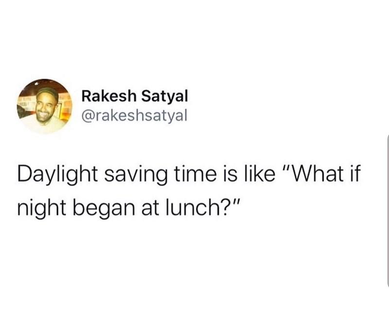 """Text - Rakesh Satyal @rakeshsatyal Daylight saving time is like """"What if night began at lunch?"""""""