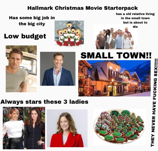 People - Hallmark Christmas Movie Starterpack has a old relative living in the small town but is about to Has some big job in the big city die Low budget SMALL TOWN!! Always stars these 3 ladies THEY NEVER HAVE FUCKING SEX!!!!!!