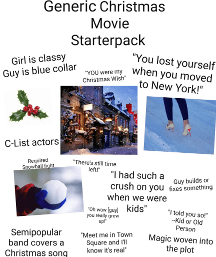 """Text - Generic Christmas Movie Starterpack """"You lost yourself when you moved to New York!"""" Girl is classy """"YOU were my Christmas Wish"""" Guy is blue collar C-List actors Required Snowball fight """"There's still time left!"""" """"I had such a crush on you fixes something when we were kids"""" Guy builds or """"Oh wow [guy) you really grew up!"""" """"I told you so!"""" --Kid or Old Person Semipopular band covers a """"Meet me in Town Magic woven into the plot Square and l'l know it's real"""" Christmas song"""