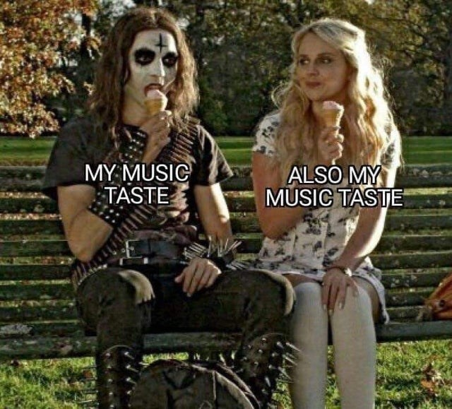 funny meme about music taste, metal and pop. deathgasm meme goth metal guy and preppy blonde girl eating ice cream together, both labeled as my music taste