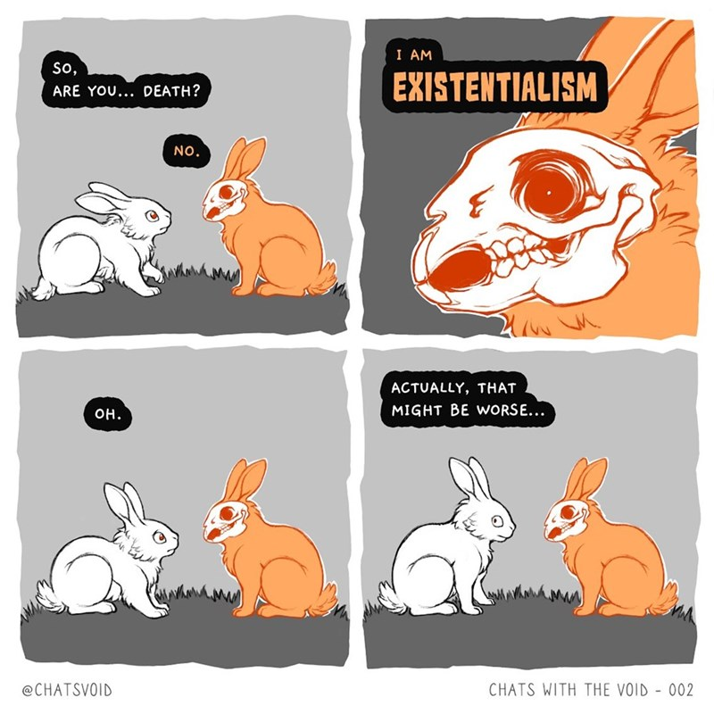 Rabbit - I AM So, EXISTENTIALISM ARE YOU... DEATH? NO. ACTUALLY, THAT MIGHT BE WORSE... OH. @CHATSVOID CHATS WITH THE VOID - 002