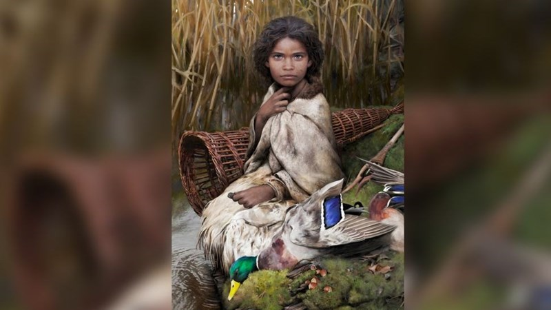artists interpretation of lola, young girl from 5700 years ago sitting with cape around shoulders