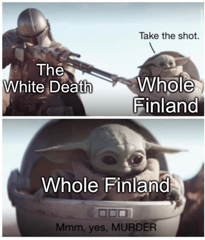 Photo caption - Take the shot. The White Death Whole Finland Whole Finland Mmm, yes, MURDER