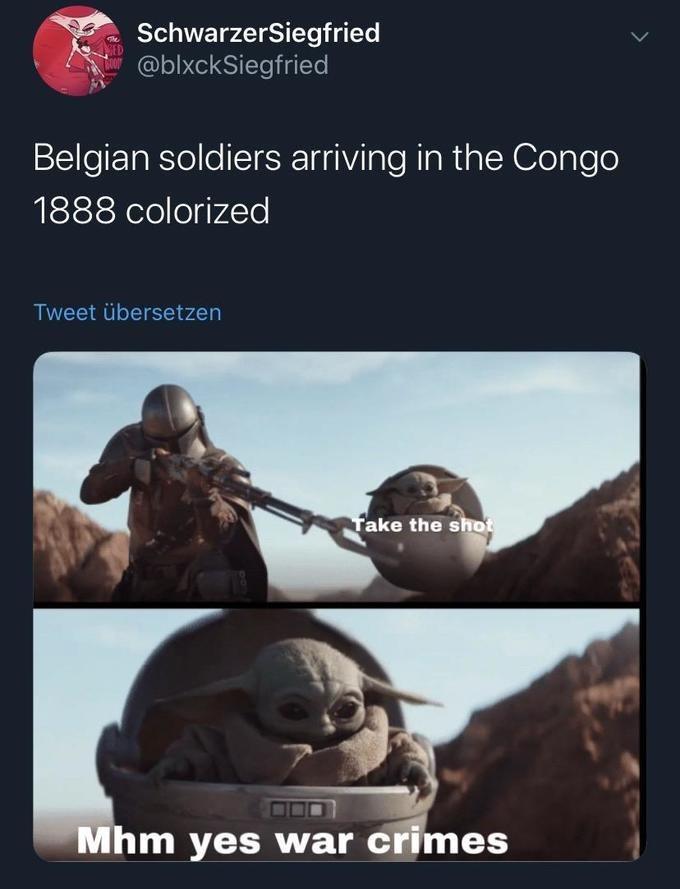 Adaptation - SchwarzerSiegfried - @blxckSiegfried Belgian soldiers arriving in the Congo 1888 colorized Tweet übersetzen Take the shot Mhm yes war crimes