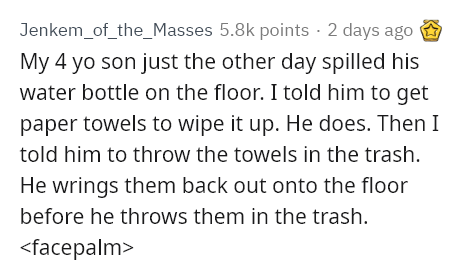 Text - Jenkem_of_the_Masses 5.8k points · 2 days ago My 4 yo son just the other day spilled his water bottle on the floor. I told him to get paper towels to wipe it up. He does. Then I told him to throw the towels in the trash. He wrings them back out onto the floor before he throws them in the trash. <facepalm>
