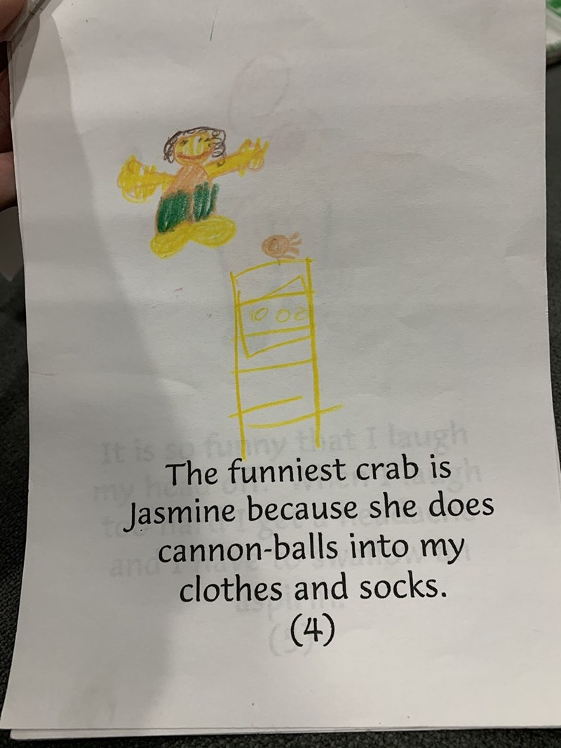 Text - It is funy that I laugh The funniest crab is Jasmine because she does cannon-balls into my and clothes and socks. (4)