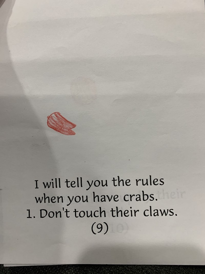 Text - I will tell you the rules when you have crabs. heir 1. Don't touch their claws. (9)