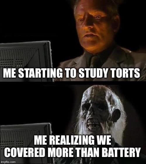 Photo caption - ME STARTING TO STUDY TORTS ME REALIZING WE COVERED MORE THAN BATTERY imgfip.com