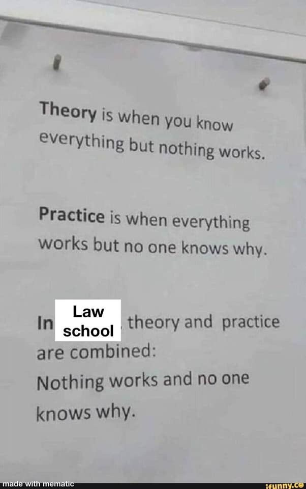 Text - Theory is when you know everything but nothing works. Practice is when everything works but no one knows why. Law theory and practice In school are combined: Nothing works and no one knows why. made with mematic ifunny.co