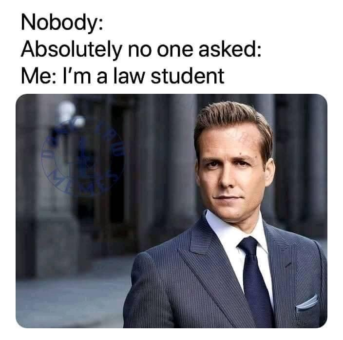 Product - Nobody: Absolutely no one asked: Me: I'm a law student