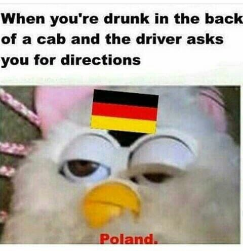 Photo caption - When you're drunk in the back of a cab and the driver asks you for directions Poland.