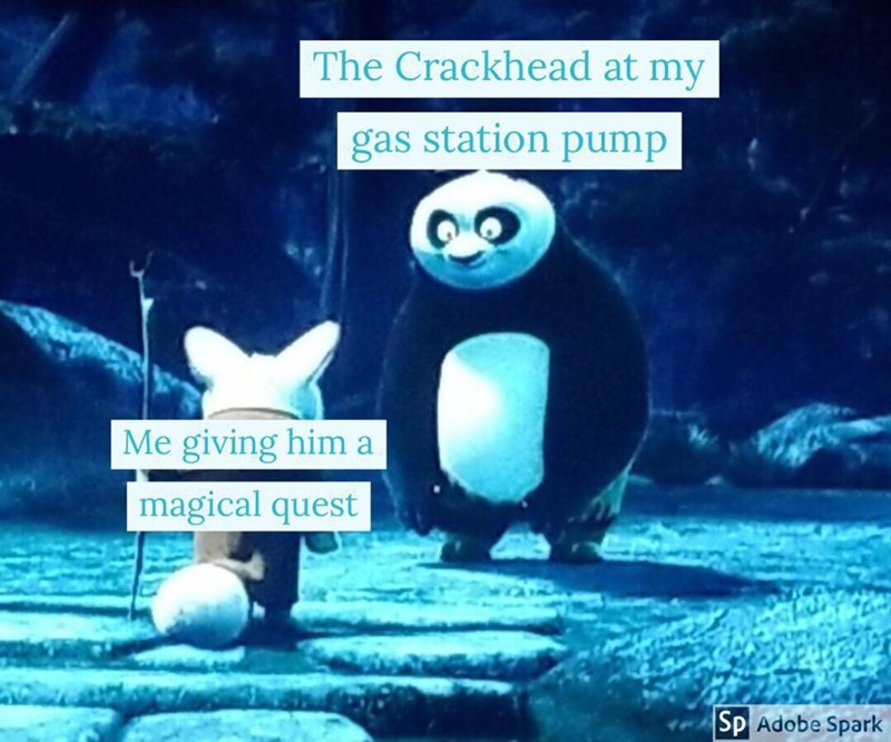 Animated cartoon - The Crackhead at my gas station pump Me giving him a magical quest Sp Adobe Spark