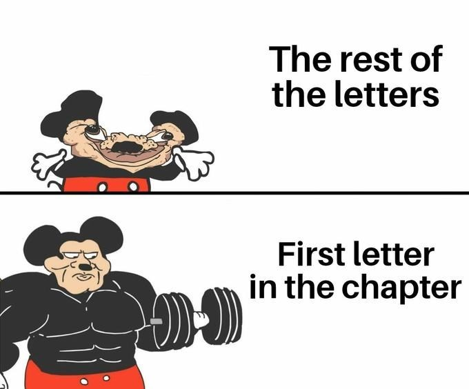 Cartoon - The rest of the letters First letter in the chapter