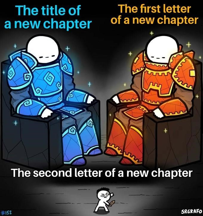 Cartoon - The first letter of a new chapter The title of a new chapter The second letter of a new chapter SRGRAFO #152