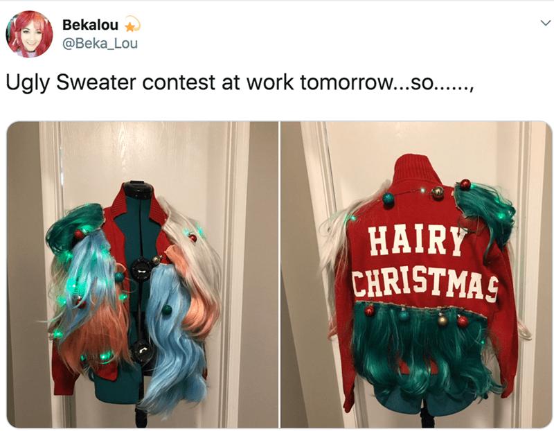 Clothing - Bekalou @Beka_Lou Ugly Sweater contest at work tomorrow...so...., HAIRY CHRISTMAS