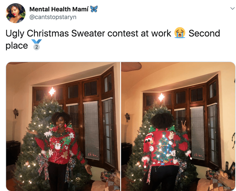 Christmas eve - Mental Health Mamí X @cantstopstaryn Ugly Christmas Sweater contest at work f Second place