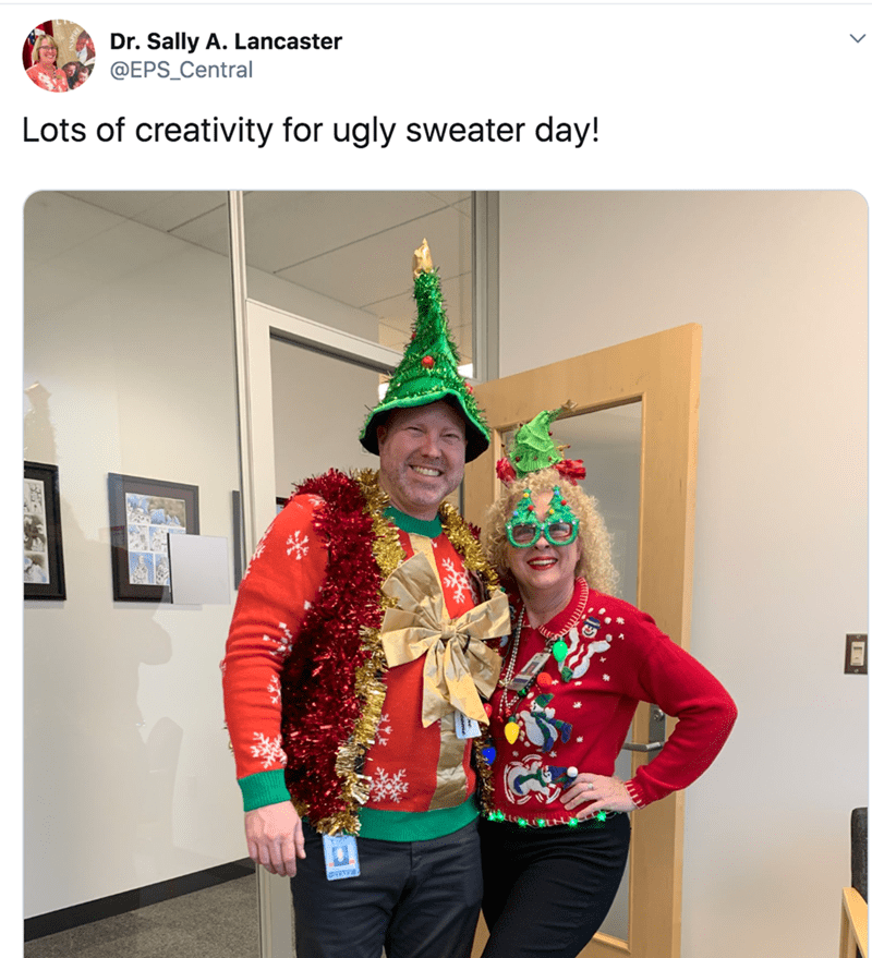 Event - Dr. Sally A. Lancaster @EPS_Central Lots of creativity for ugly sweater day!