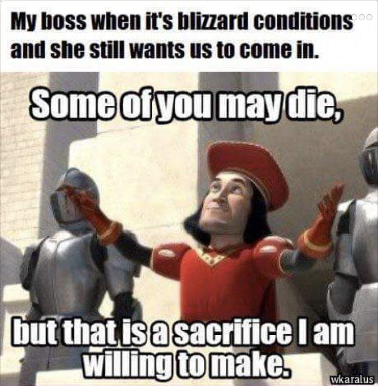 Internet meme - My boss when it's blizzard conditions and she still wants us to come in. Some of you may die, but that is a sacrifice I am willing to make. wkaralus