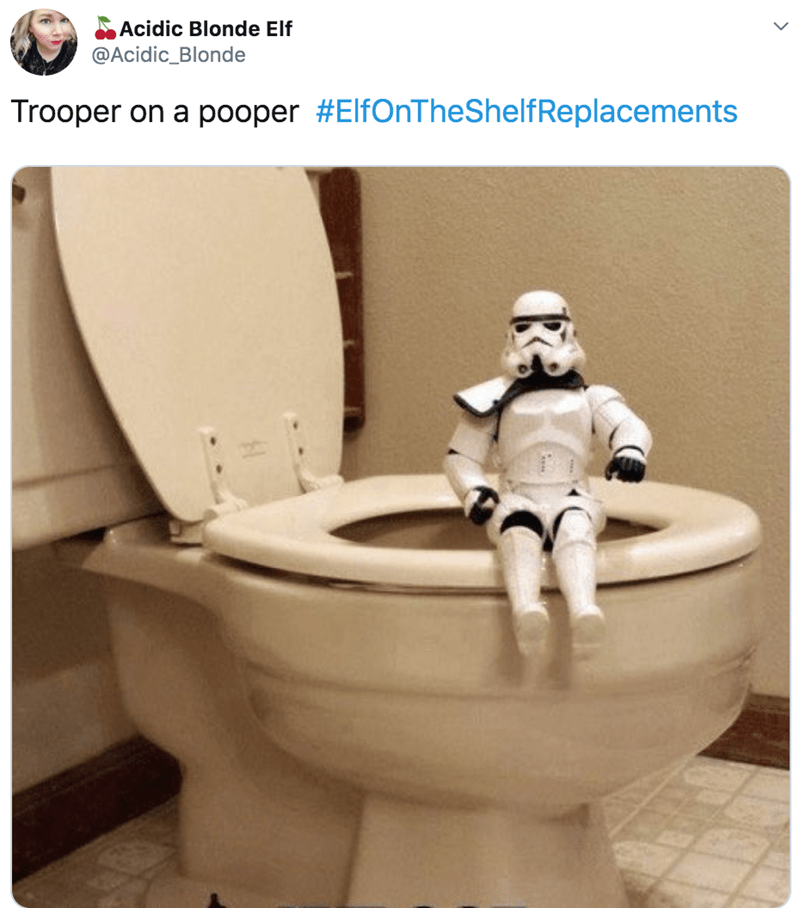 Toilet seat - Acidic Blonde Elf @Acidic_Blonde Trooper on a pooper #ElfOnTheShelfReplacements