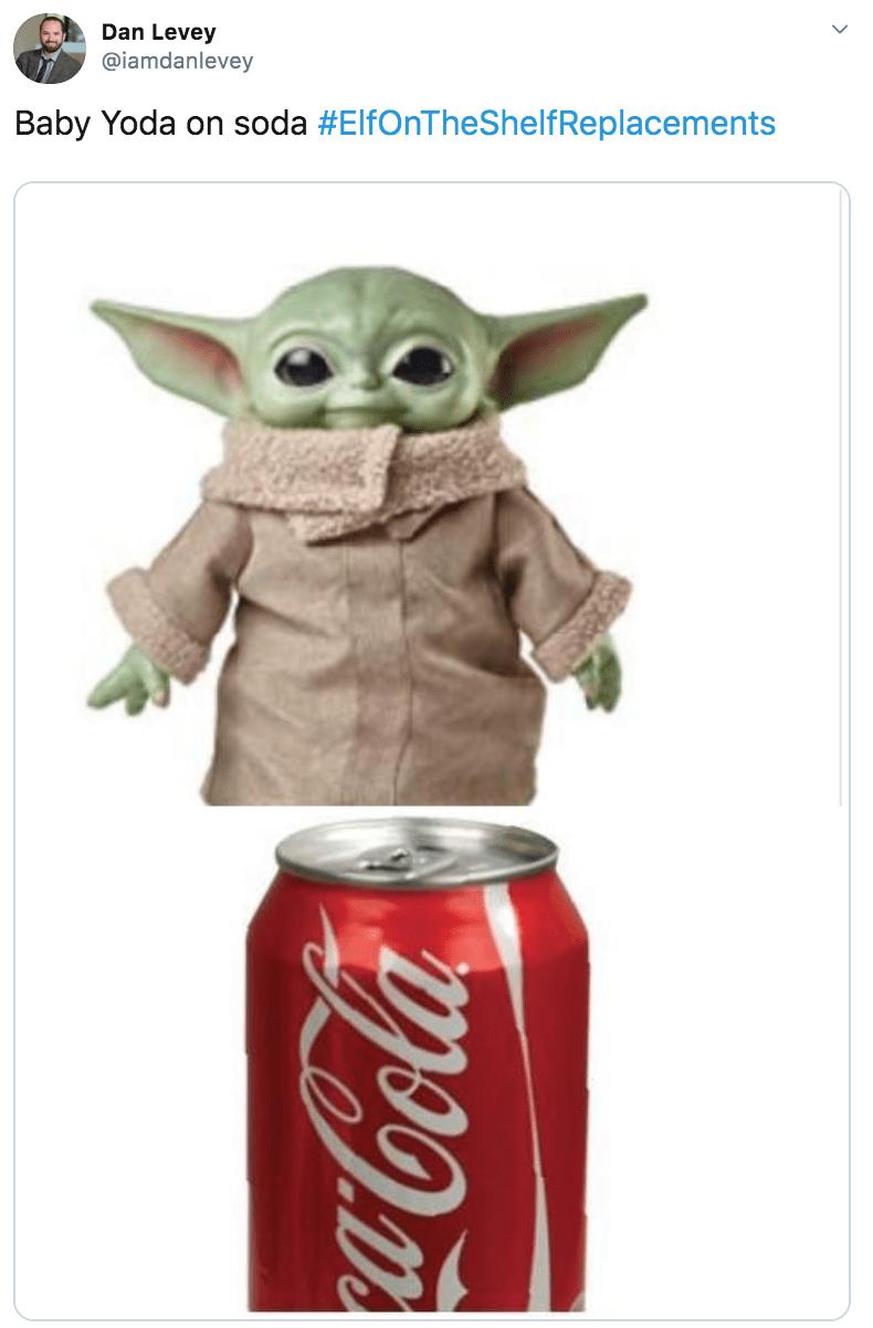 Yoda - Dan Levey @iamdanlevey Baby Yoda on soda #ElfOnTheShelfReplacements Cocala