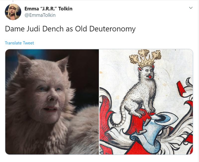 "Text - Emma ""J.R.R."" Tolkin @EmmaTolkin Dame Judi Dench as Old Deuteronomy Translate Tweet"