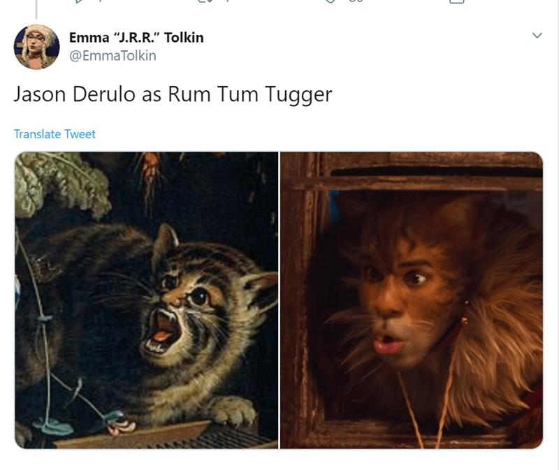 """Felidae - Emma """"J.R.R."""" Tolkin @EmmaTolkin Jason Derulo as Rum Tum Tugger Translate Tweet"""