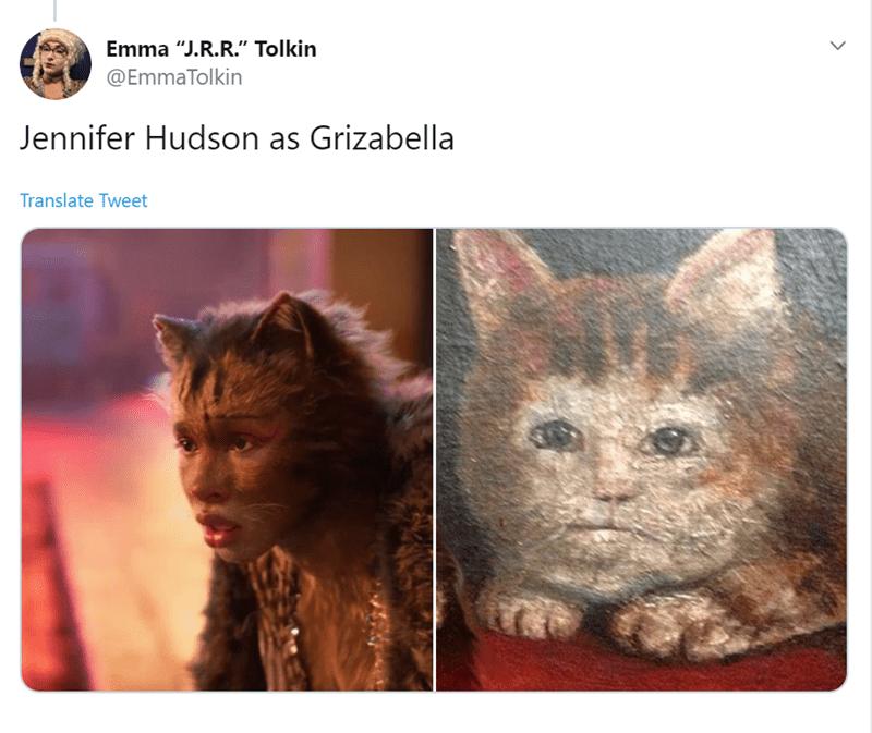 "Cat - Emma ""J.R.R."" Tolkin @EmmaTolkin Jennifer Hudson as Grizabella Translate Tweet"