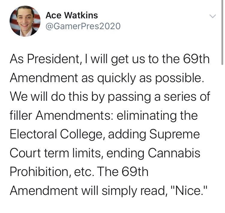 """Text - Ace Watkins @GamerPres2020 As President, I will get us to the 69th Amendment as quickly as possible. We will do this by passing a series of filler Amendments: eliminating the Electoral College, adding Supreme Court term limits, ending Cannabis Prohibition, etc. The 69th Amendment will simply read, """"Nice."""""""