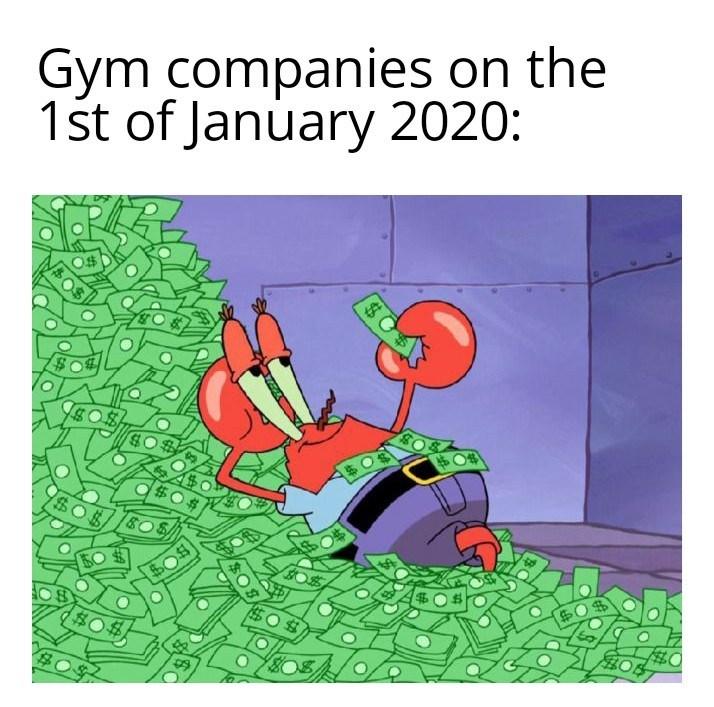 Cartoon - Gym companies on the 1st of January 2020: %24 24 $04 $0